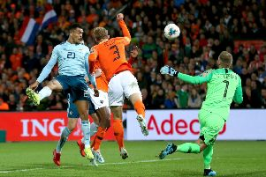 Northern Ireland's Josh Magennis scored against the Netherlands in the 3-1 defeat.