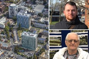 Leamington House and Horatia House (left), Councillor Cal Corkery (top) and former resident Peter Burton (bottom)