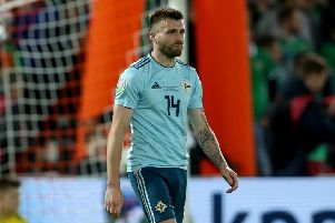 Northern Ireland's Stuart Dallas during defeat to Holland in Rotterdam. Pic by PressEye Ltd.