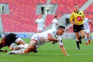 Ulster's John Cooney goes over for a try against Southern Kings