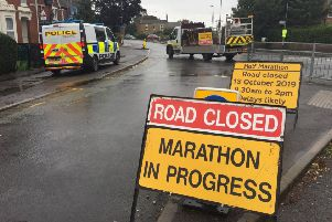 Police in Alexandra Road, Peterborough, where a man was seen acting suspiciously.  The Great Eastern Run was cancelled because of this incident. Picture: David Lowndes