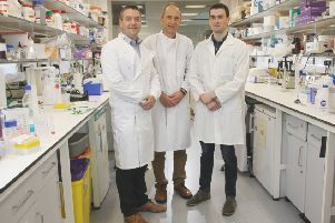 Dr David Simpson (centre) with Dr Chris Watson (left) and Oisin Cappa.