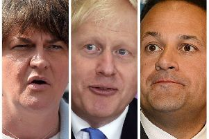 DUP leader, Arlene Foster, Prime Minister Boris Johnson and Taoiseach Leo Varadkar.