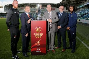 Pictured at the launch of the Unite the union Champions Cup were (from left) Dundalk's Chris Shields, Irish FA President David Martin, Unite Regional Secretary Jerry Pollock, Fran Gavin from the FAI and Linfield's Bastien Hery.