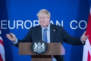 UK Prime Minister Boris Johnson speaking at the European Council summit at EU headquarters in Brussels