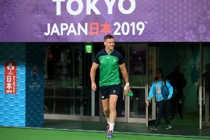 Ireland's Johnny Sexton walks out for the captain's run at Tokyo Stadium, Tokyo, Japan on Friday.