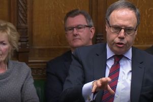 DUP deputy leader Nigel Dodds speaking in the House of Commons, London during the debate for the  European Union (Withdrawal Agreement) Bill: Second Reading on Tuesday night. Photo: PA Wire
