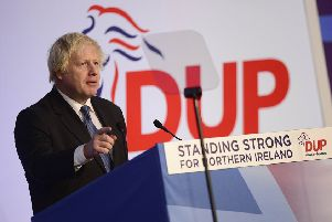 Boris Johnson at the DUP conference last year in the La Mon hotel, when he said no prime minister could agree a major border down the Irish Sea ' exactly what he has now agreed