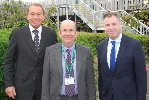 L-R Kettering MP Philip Hollobone with KGH Chief Executive Simon Weldon and'Health Minister Edward Argar on October 7