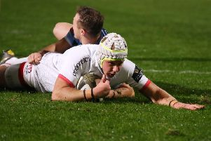 Ulster's Luke Marshall scores a try against Cardiff Blues during the Guinness Pro14 match at the Kingspan Stadium.