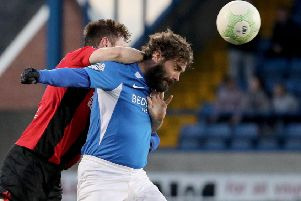 Glenavon player/manager Gary Hamilton during Saturday's 2-2 draw with Crusaders at Mourneview Park.
