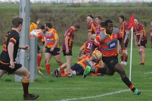 Mooki Tshepo Otto almost scored a great try for Borough at Wellingborough.