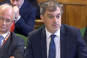 Northern Ireland Secretary Julian Smith appearing before the NI Affairs Select Committee in the House of Commons, alongside NIO permanent secretary Jonathan Stephens, left, on October 23, 2019. Photo: PA Wire