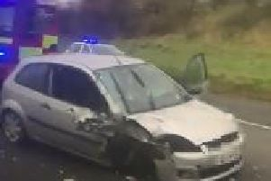 One of the vehicles involved in the road traffic collision on the A6 on Friday afternoon. (Video/Image courtesy of Cop/Vosa Watch Derry)