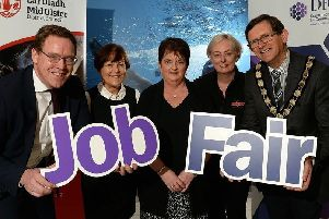 Chair of Mid Ulster Skills Forum, Alan McKeown; Ann McBride, Network Personnel; Mary Mullan, Department for Communities; Sinead Gaynor, Mallaghan Engineering; Chair of Mid Ulster District Council, Martin Kearney.