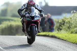 Adam McLean on the McAdoo Kawasaki at the Tandragee 100 in May. Picture: Stephen Davison/Pacemaker Press.