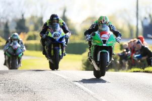 Derek McGee leads Derek Sheils and Michael Sweeney at the 2019 Tandragee 100.