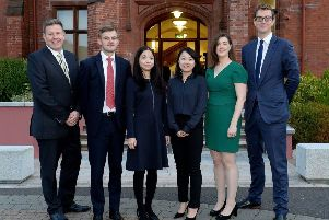 Pictured (L-R) are: Mark Thompson, Partner, ALG;  Tiernan McKeown, Solicitor, ALG;  Chinese lawyers Chris Zhang and Teresa Yang; Sarah Dugdale, Associate, ALG and Jonny Hacking, Associate, ALG