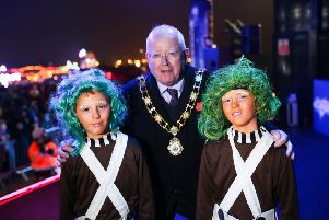 Mayor, Ald John Smyth is pictured with the winners of the age 8-12 fancy dress category, Cory and Finn O'Donnell at the Spooked Out at V36 event.