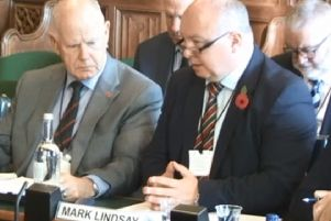 Raymond White (left), of the retired police officers association, and Mark Lindsay, of the Police Federation NI, giving evidence to the NI Affairs Committee at Westminster last month
