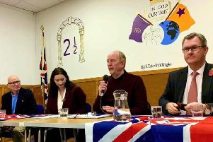 PUP leader Billy Hutchinson, DUP MP Emma Little-Pengelly, chair Bob Stoker and DUP MP Sir Jeffrey Donaldson at the election meeting in Sandy Row Orange Hall on Wednesday night.