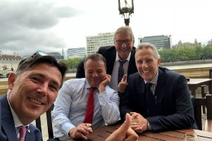 Ian Paisley (right) pictured with Arron Banks (second from left, with cigarette)