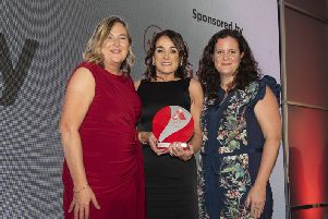 Women in Business chief executive Roseann Kelly, Businesswoman of the Year Edel Doherty and Alison Bawn, Virgin Media Business.