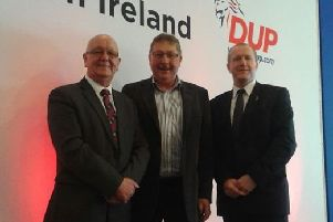 (l-r) Bobby Rice, Sammy Wilson and Stephen Ross at the DUP conference