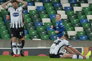 Shayne Lavery following his goal against Dundalk in Linfield's 1-1 draw. Pic by Pacemaker.
