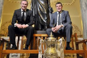 Tommy Wright (right) and Michael O'Neill during time as club managers in 2010. Pic by INPHO.