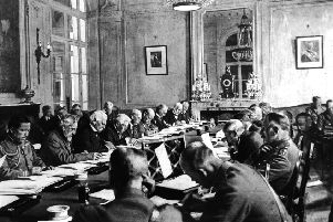 """The 1919 Paris peace conference at Versailles after the Great War met """"in the shadow of unspeakable human loss"""""""