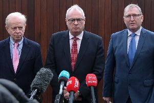 New UUP leader Steve Aiken (centre) with former leader Lord Empey (left) and senior MLA Doug Beattie