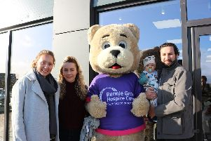 Leanne Spriggs, childrens nurse at Rennie Grove, with Ellie, Harley and Oli at the shop opening in Berryfields