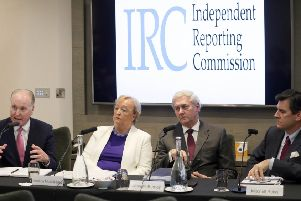 Members of the Independent Reporting Commission from left Tim O'Connor, Monica McWilliams, John McBurney and Mitchell Reiss in 2018.'           Picture by Stephen Davison, Pacemaker