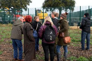 Protesters at the Steeple Claydon site