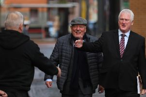 UUP candidate Michael Henderson (right) arriving at the Electoral Office today