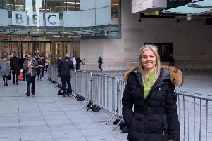 Sophie Hare outside the BBC television centre for the One Show appearance. (Photo: Hare and Beauty)