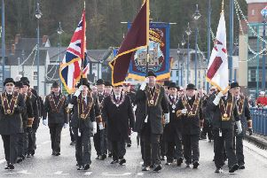 Members of the Apprentice Boys make their way across th Craigavon Bridge. Picture Martin McKeown .Inpresspics.com. 02.12.17