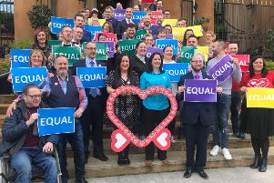 File photo dated 21/10/19 of same-sex couples and campaigners in Northern Ireland, as more campaigners are to launch legal action against alleged Government delay