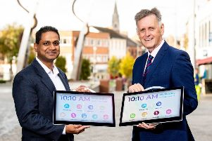 Mark Bleakney, (left) Southern Office Regional Manager, Invest NI and Deepak Samson, founder and CEO, Connected Care Solutions.