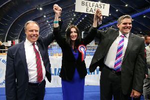 If Nigel Dodds, Emma Little-Pengelly, and Gavin Robinson, seen above in 2017, lose their Westminster seats, unionism will lose three lawyers
