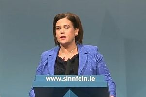 Sinn Fin president Mary Lou McDonald delivering her address to the Ard Fheis in Derry.