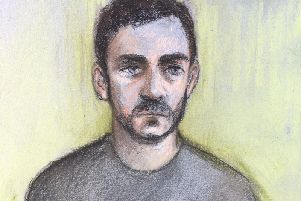 Court artist file sketch by Elizabeth Cook of lorry driver Maurice Robinson, 25, appearing by video-link at Chelmsford Magistrates' Court, Essex. (Image: Elizabeth Cook/PA Wire)