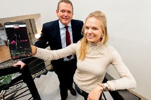 Derek Andrews, head of international investment at Invest NI with Karoline Gross, founder and CEO, Smartzer.
