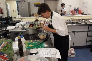 Jamie Arnold from Bay House School taking part in the Gosport Rotary Young Chef competition