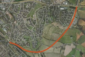 Protected road corridor in Dundonald. The coloured line shows the protected land where a road might go between Comber Road, bottom left, and Newtownards Road, top right. Developers want the protection removed to build homes