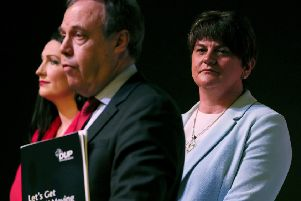 DUP leader Arlene Foster (right) along with the party's Westminster leader Nigel Dodds and candidate for South Belfast Emma Little-Pengelly at the DUP's General Election manifesto launch at W5 in Belfast. Photo: Brian Lawless/PA Wire