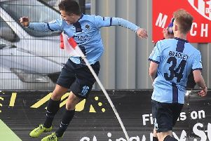 Institute's Jack Bradley runs over to congratulate Gareth Brown, after his stunning goal against Coleraine