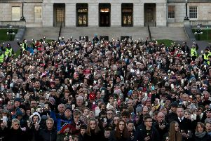 Anti abortion protesters stage a silent demonstration at Stormont against the recent liberalisation of abortion laws in Northern Ireland.