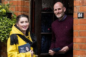 Emma Little-Pengelly the DUP's candidate for South Belfast, meeting constituents on the door while canvassing in the Cregagh area